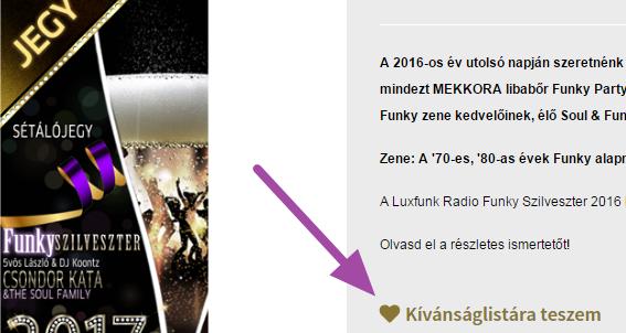 Luxfunk Funky Szilveszter jegy - kívánság listára 1